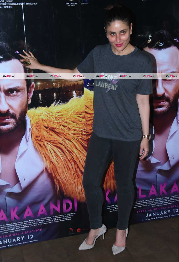 Kareena Kapoor snapped with Kaalakaandi poster