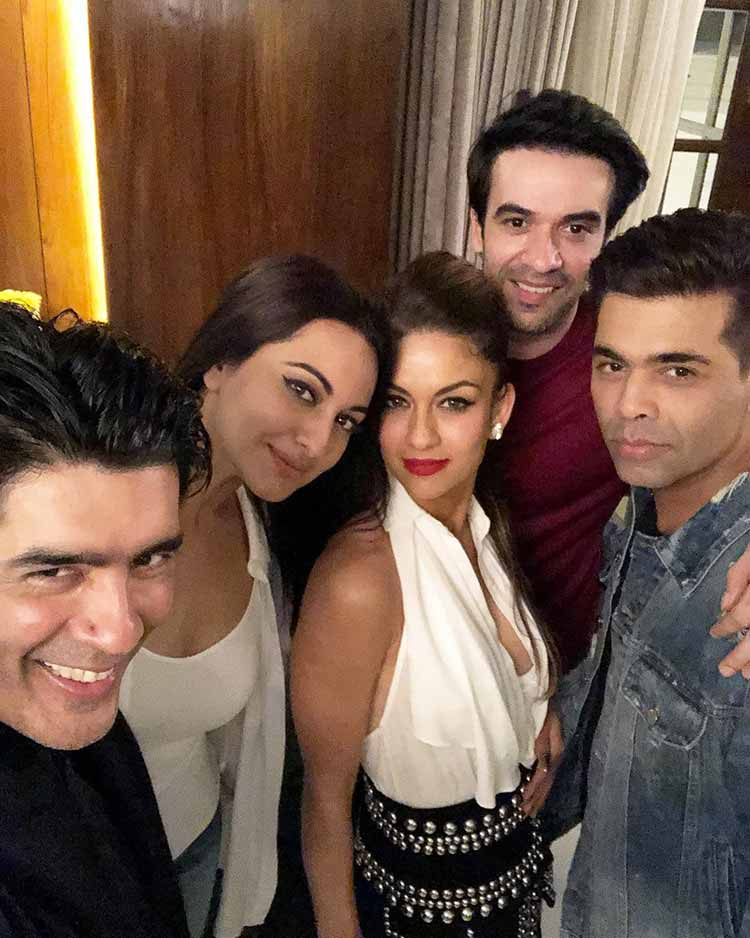 Manish Malhotra with his friends at his surprise birthday party