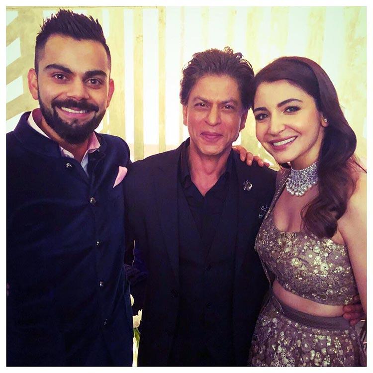Shah Rukh Khan with Virat Kohli and Anushka Sharma at their Mumbai reception