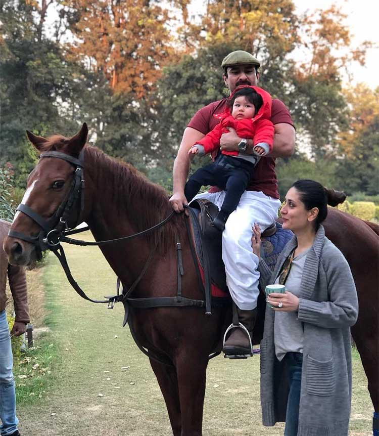 Taimur having his first horse riding lessons just before his birthday