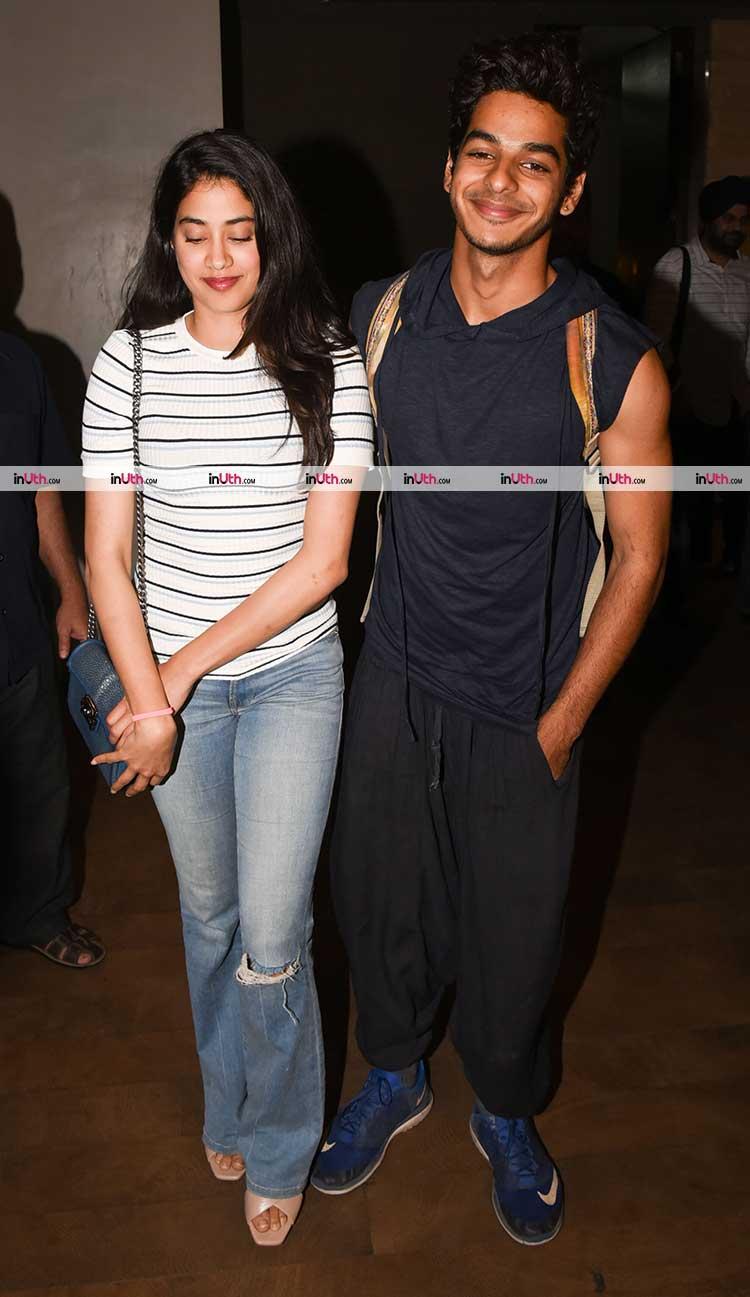 Ishaan Khatter and Jhanvi Kapoor at Tiger Zinda Hai screening