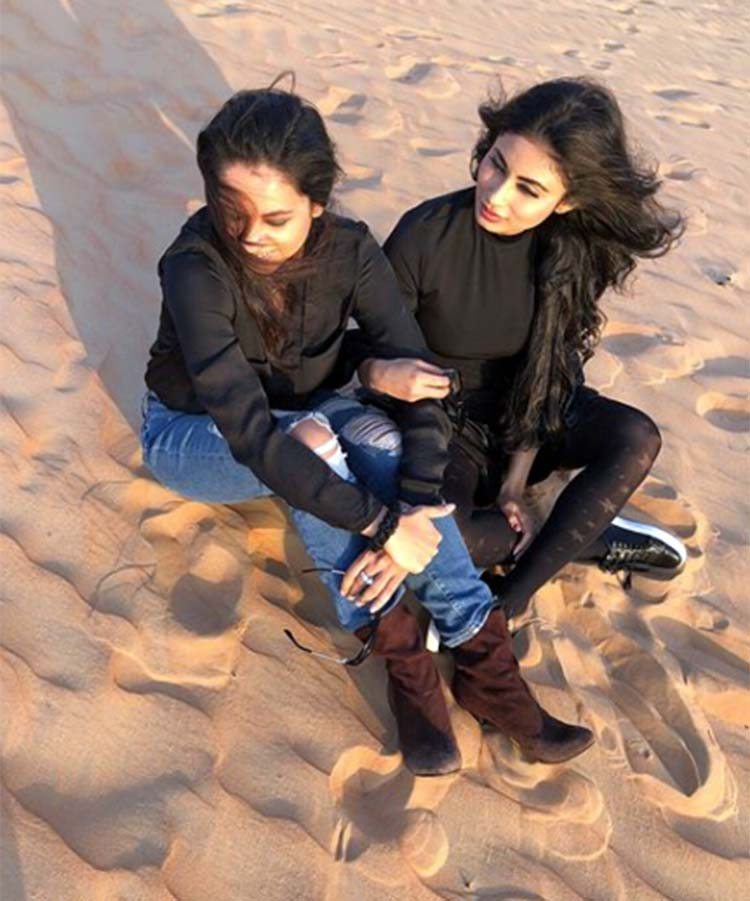 Mouni Roy chilling in the desert with her close friend