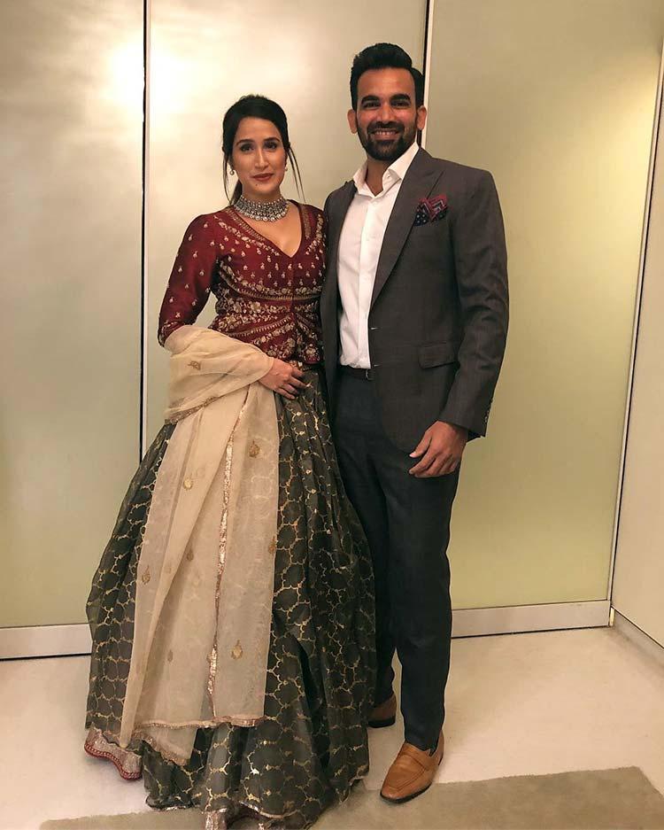 Sagarika Ghatge and Zaheer Khan at Virat Kohli and Anushka Sharma's Mumbai reception