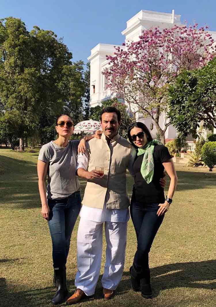 Saif Ali Khan with Kareena and Karisma Kapoor
