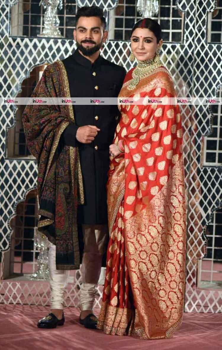 Virat Kohli and Anushka Sharma in Sabyasachi for their Delhi wedding reception