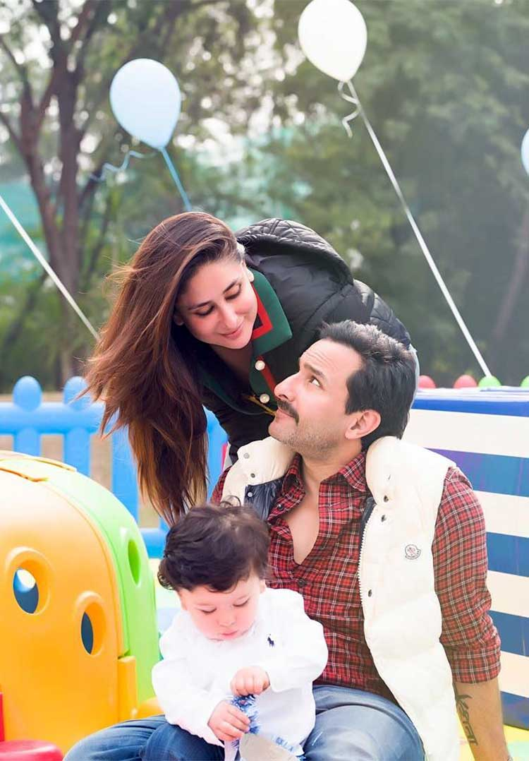 Birthday boy Taimur with his parents
