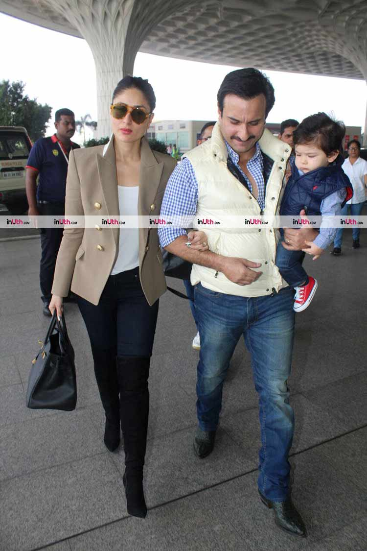 Kareena Kapoor, Saif Ali Khan, and Taimur spotted at Mumbai airport