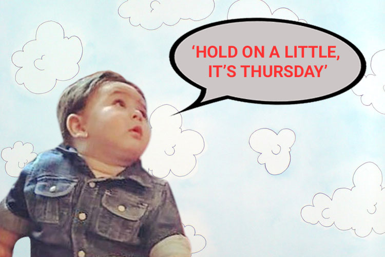 Taimur's 'Hold on a little, it's Thursday' face
