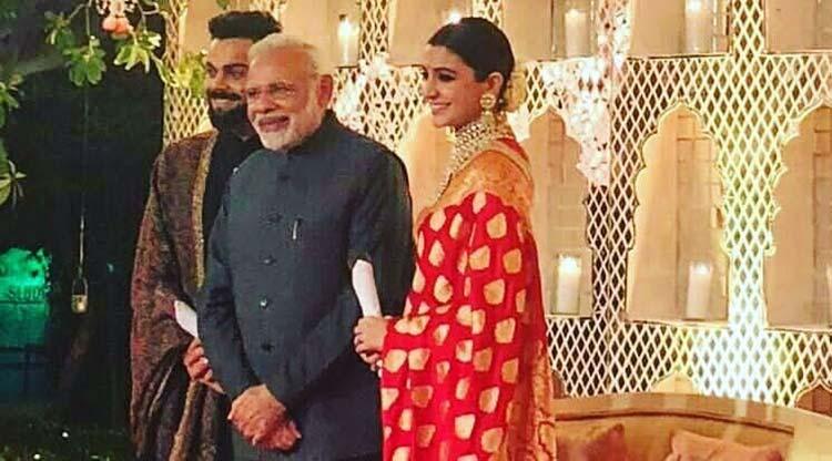 Virat Kohli and Anushka Sharma with Prime Minister Narendra Modi