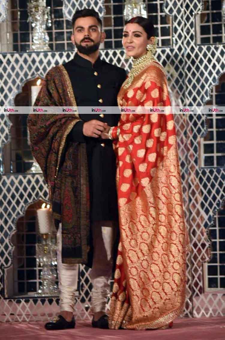Virat Kohli with Anushka Sharma at their Delhi wedding reception party