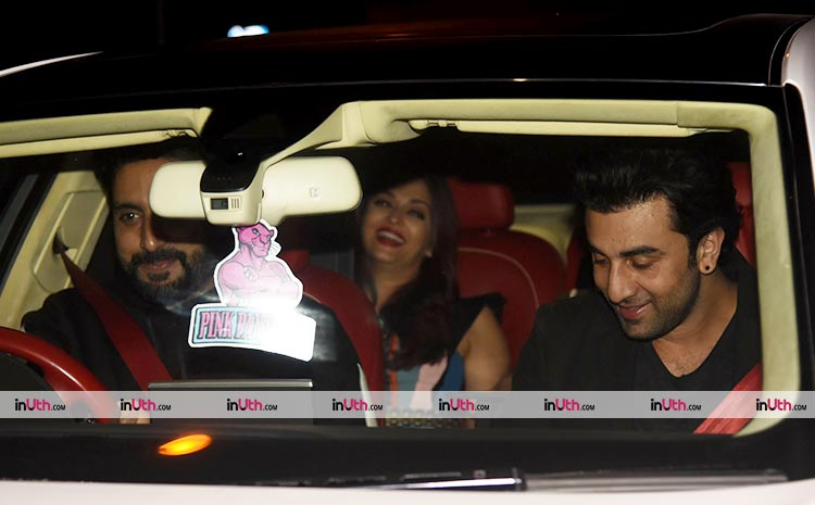 Abhishek Bachchan, Aishwarya Rai, and Ranbir Kapoor after Bunty Walia's party