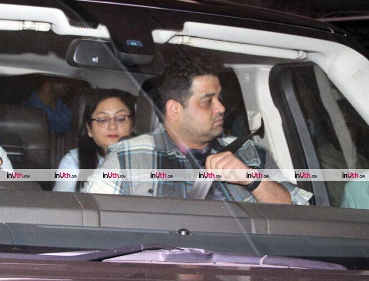 Anushka Sharma's mother and brother outside the airport