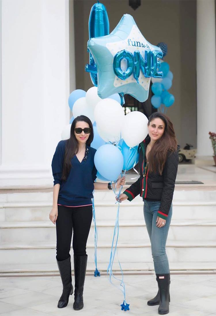 Kareena and Karisma Kapoor celebrating Taimur's first birthday