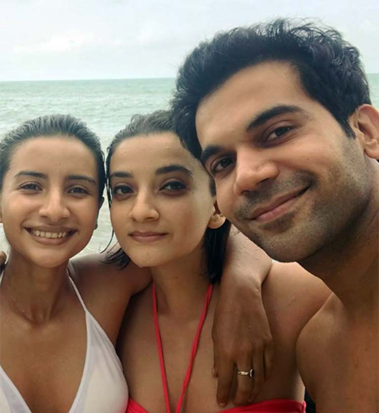 Rajkummar Rao with Patralekha and her sister in Thailand