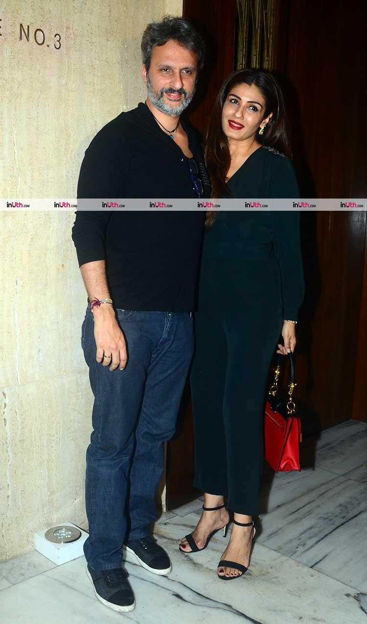 Raveena Tandon with Anil Thadani at Manish Malhotra's party
