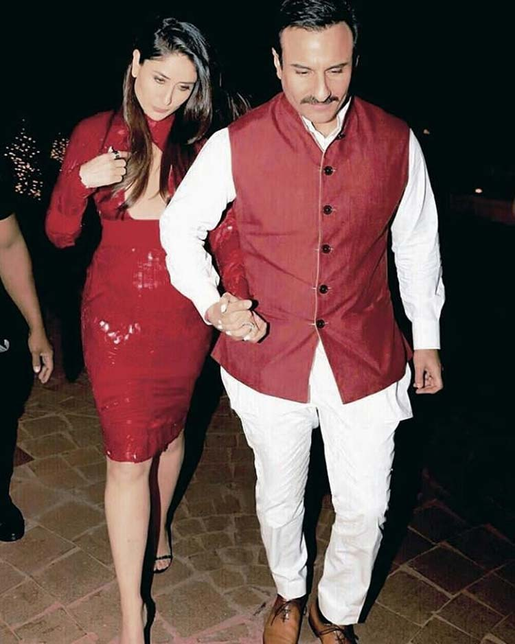 Saif Ali Khan and Kareena Kapoor walking hand in hand