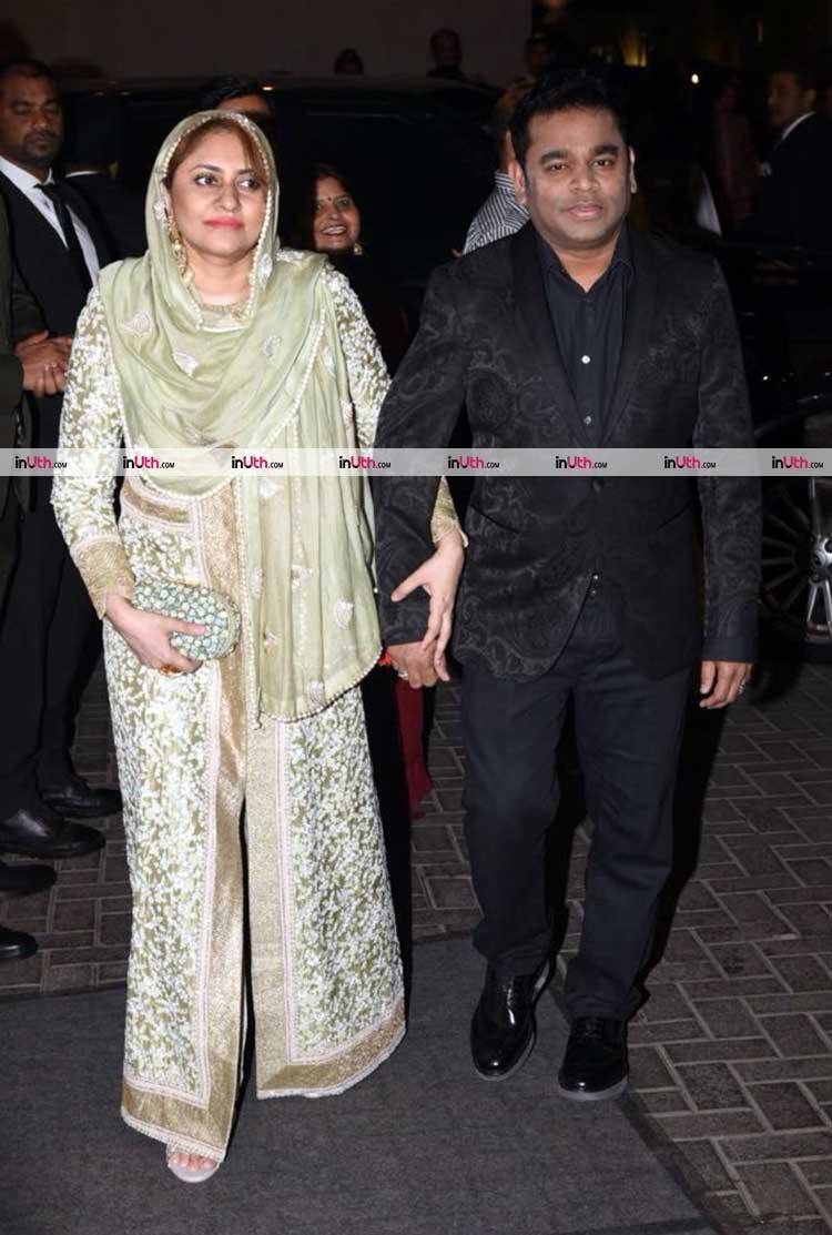 A.R. Rahman with wife at Virat Kohli-Anushka Sharma's Mumbai wedding reception