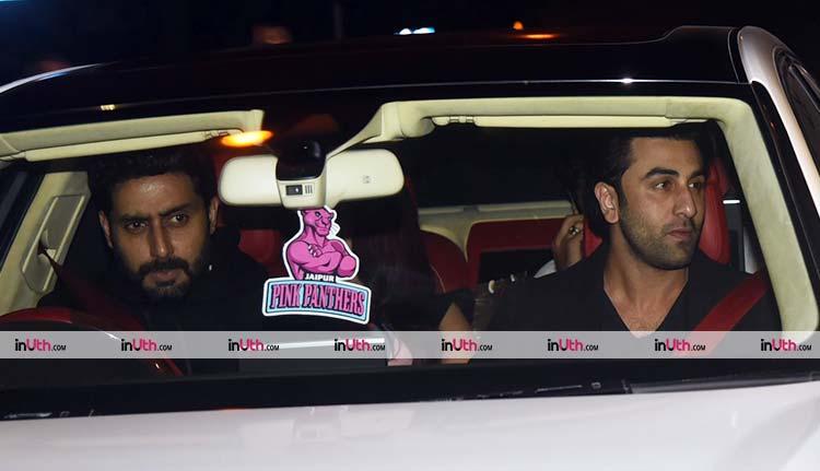 Abhishek Bachchan with Ranbir Kapoor after Bunty Walia's birthday party