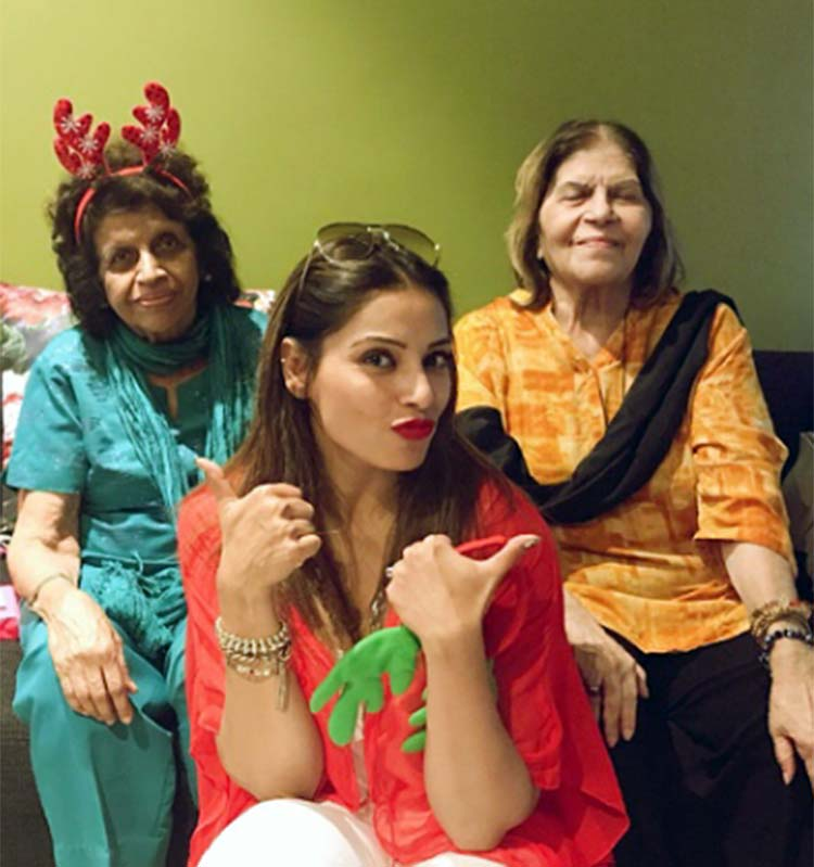 Bipasha Basu with Deanne Panday's aunts at the Christmas party