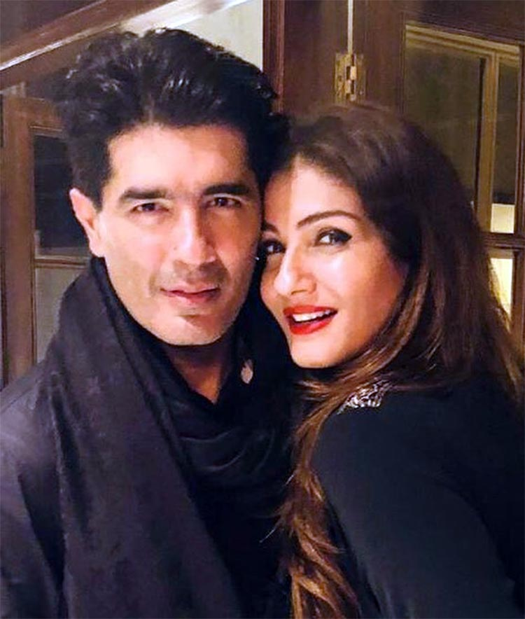 Manish Malhotra with Raveena Tandon at his birthday party