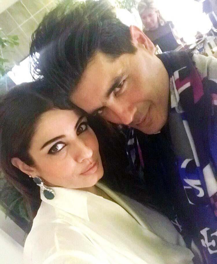 Raveena Tandon with Manish Malhotra at his party