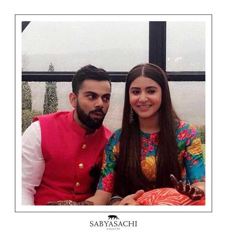 Virat Kohli and Anushka Sharma snapped during their mehendi ceremony