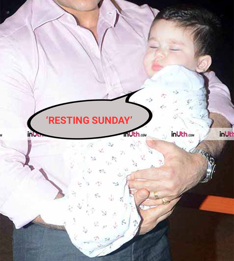Taimur's 'Resting Sunday' face