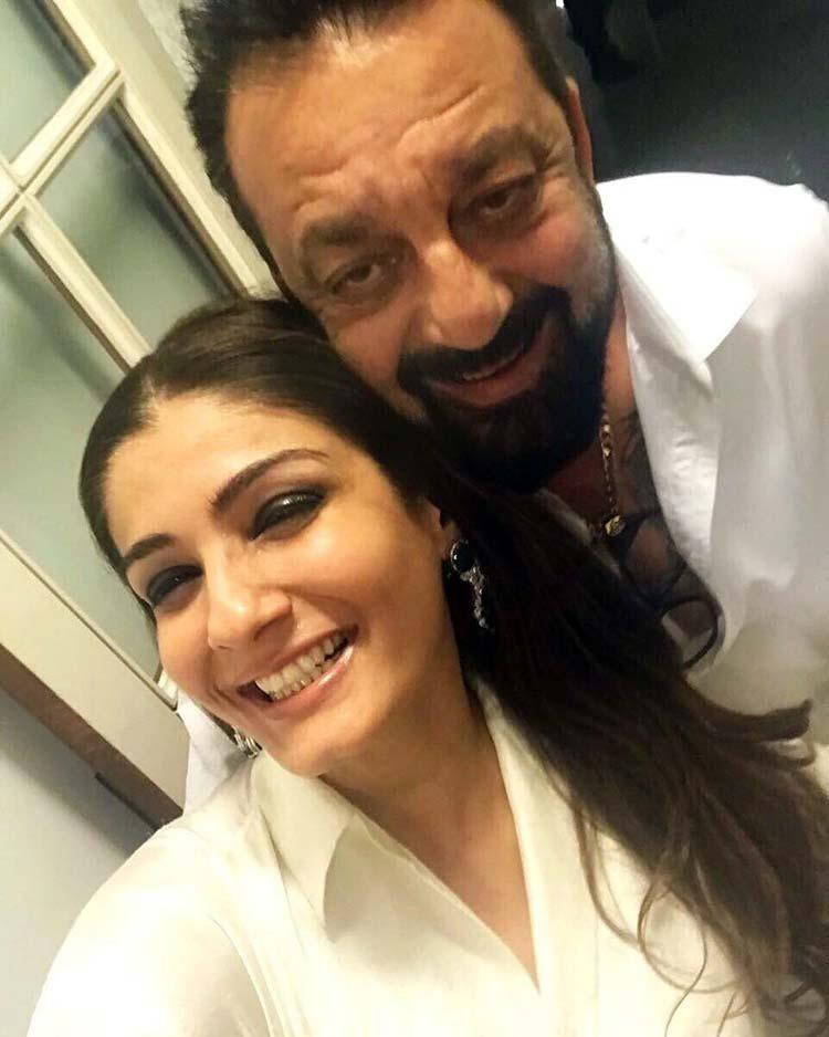 Raveena Tandon and Sanjay Dutt at Manish Malhotra's party