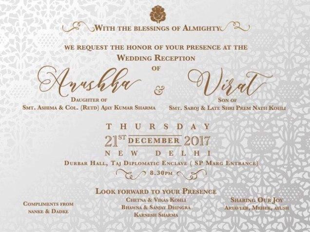 Virat Kohli-Anushka Sharma reception card