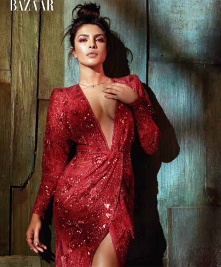 Priyanka Chopra looks sexy in red in the latest Harper's Bazaar Vietnam issue