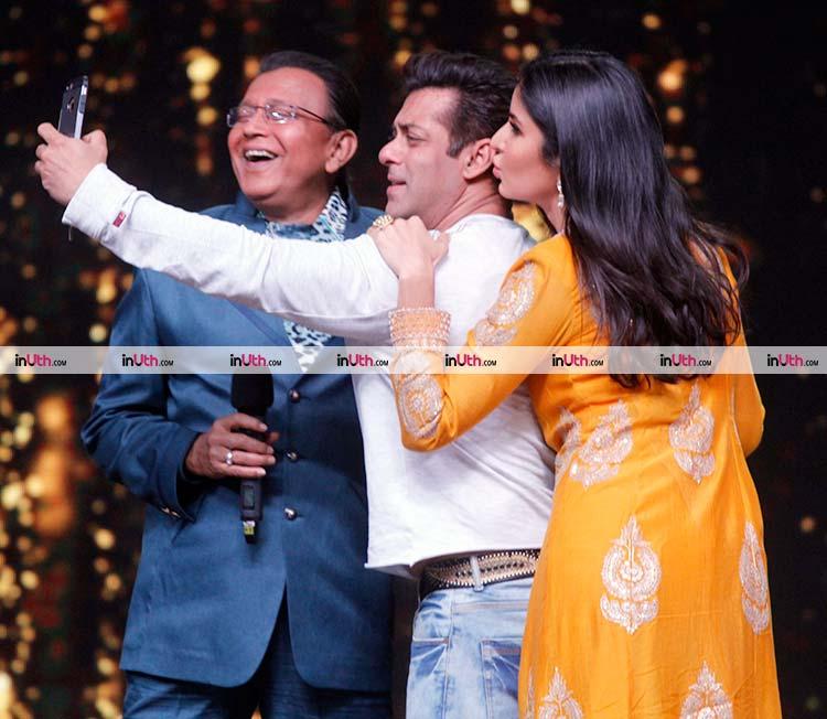 Salman Khan and Katrina Kaif taking a selfie with Mithun Chakraborty