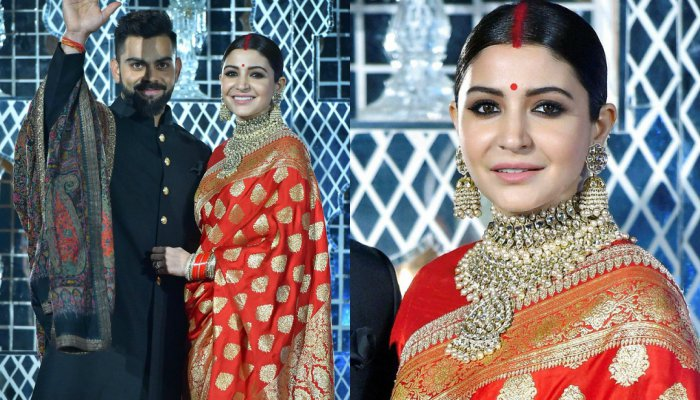 Anushka Sharma and Virat Kohli at their wedding reception