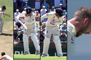 Josh Hazlewood, Mark Stoneman, Mark Stoneman helmet break, Josh Hazlewood breaks helmet, Ashes 2017-18, Australia vs England 2017, Australia vs England 3rd Test, Perth Test, WACA, Helmet broken on the field