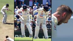 Josh Hazlewood breaks Mark Stoneman's helmet after dropped catch in Perth Test — WATCH