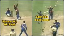Pragyan Ojha loses his cool after being hit for a six, uproots all three stumps with a kick