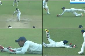 Wriddhiman Saha, Wriddhiman Saha superman catch, Wriddhiman Saha best catch, India vs Sri Lanka 2017, Delhi Test, smog, Sadeera Samarawickrama, Ishant Sharma
