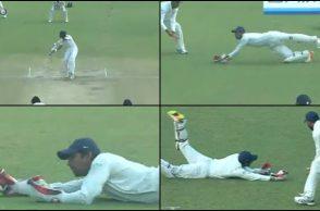 Wriddhiman Saha, Wriddhiman Saha superman catch, Wriddhiman Saha best catch, India vs Sri Lanka 2017, Delhi Test, smog, Sadeera Samarawickrama, Ishant Sharma