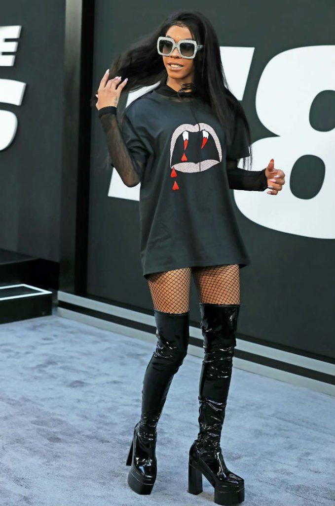 T-shirt dress with thigh high boots