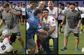 Maradona enthralls Kolkata crowd, shows his dribbling skills; Sourav Ganguly joins the party - See photos