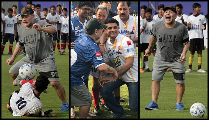 Maradona enthralls Kolkata crowd, shows his dribbling skills; Sourav Ganguly joins the party – See photos