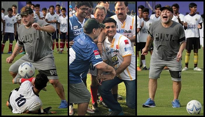 Maradona enthralls Kolkata crowd, shows his dribbling skills; Sourav Ganguly joins the party – Seephotos
