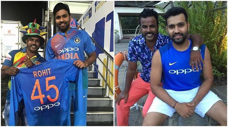 Sri Lankan cricket fan Mohamed Nilam with Rohit Sharma ( Facebook PIC)