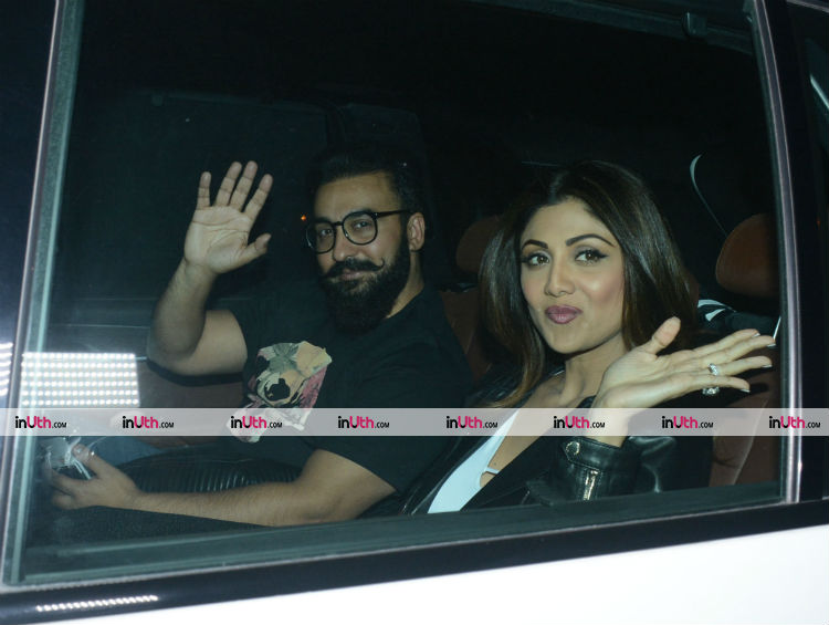 Shilpa Shetty and Raj Kundra at Farah Khan's birthday party
