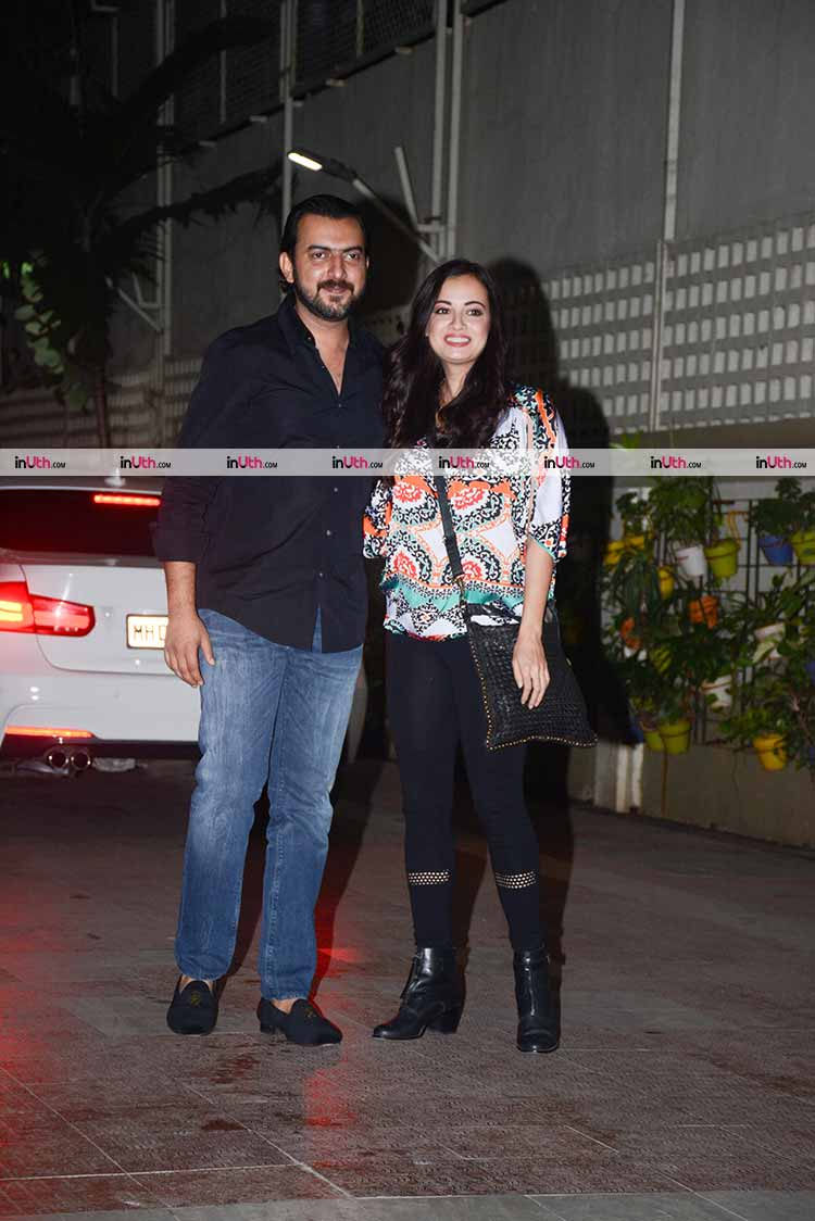 Dia Mirza with husband at Bipasha Basu's birthday party