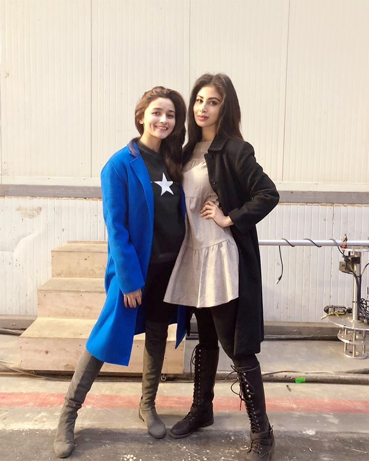 Alia Bhatt and Mouni Roy on the sets of Brahmastra