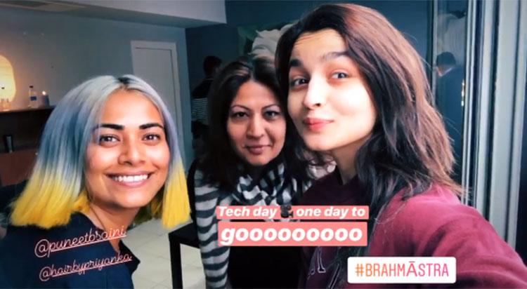 Alia Bhatt with her team on Brahmastra sets