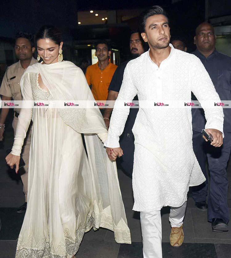Deepika Padukone and Ranveer Singh arriving for Padmaavat screening