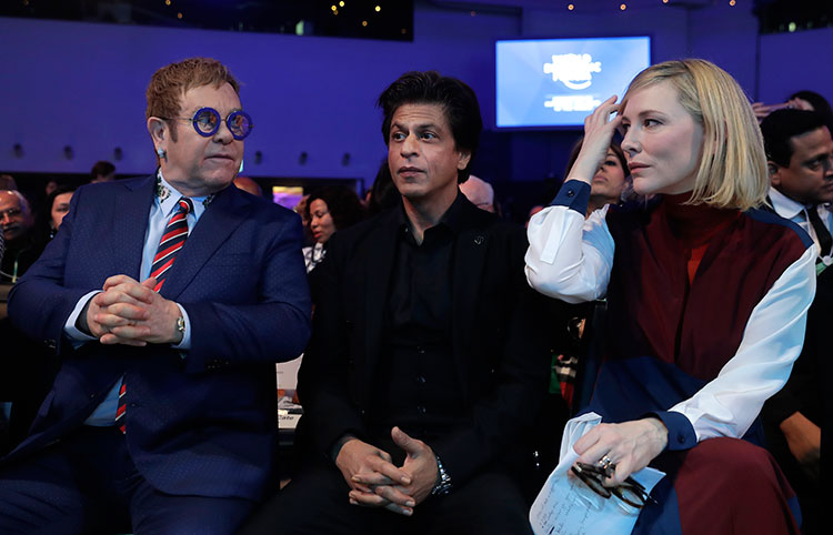 Shah Rukh Khan with Elton John and Cate Blanchett at World Economic Forum