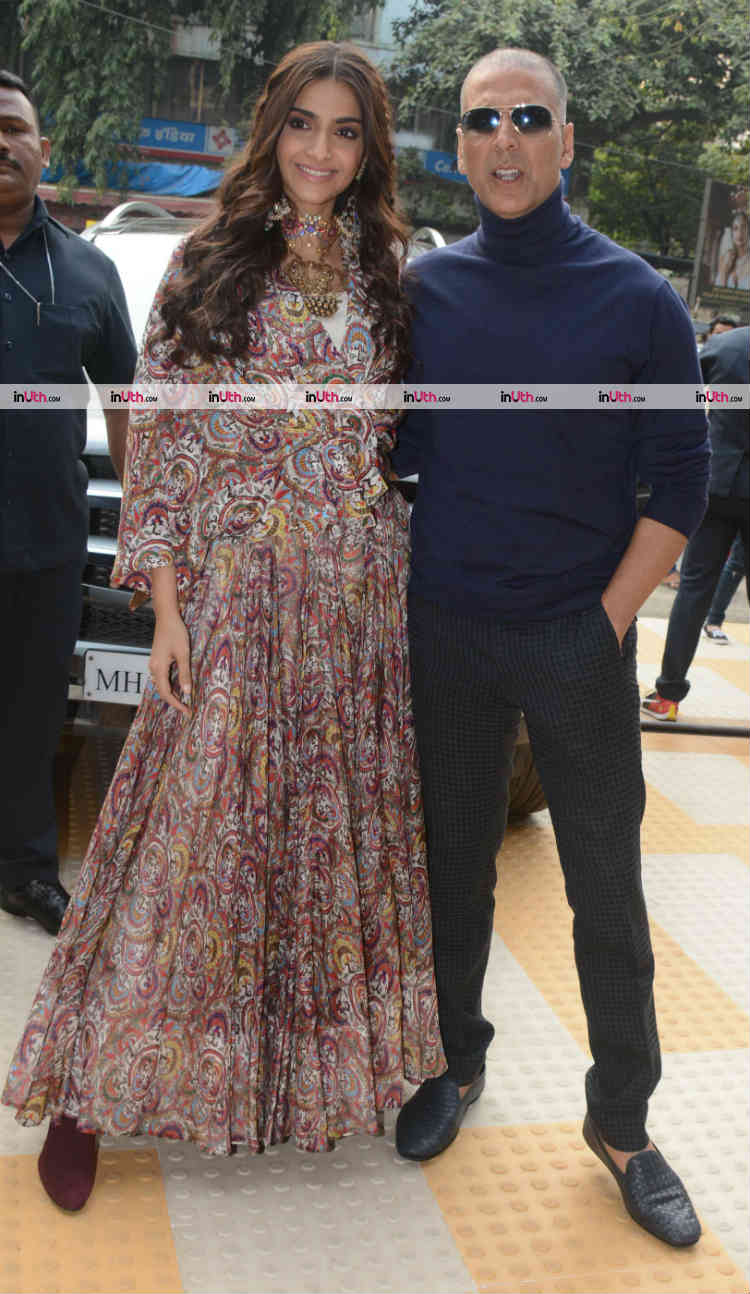 Sonam Kapoor and Akshay Kumar snapped during PadMan promotions