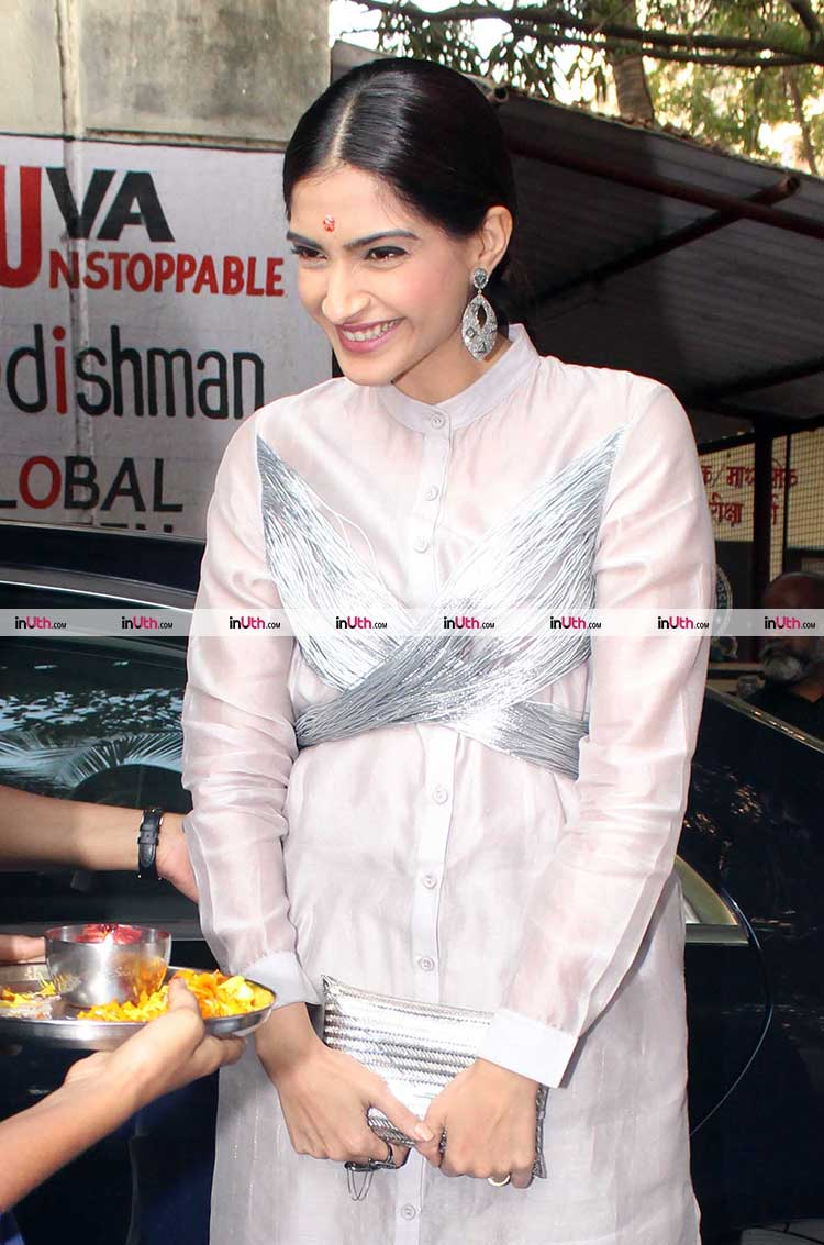 Sonam Kapoor in a school in Mumbai for PadMan promotions